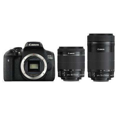 Фотоапарат Canon EOS 750D тяло + Обектив Canon EF-S 18-55mm f3.5-5.6 IS STM + Обектив Canon EF-S 55-250mm f/4-5.6 IS STM + Фоточанта Canon Shoulder Bag SB100
