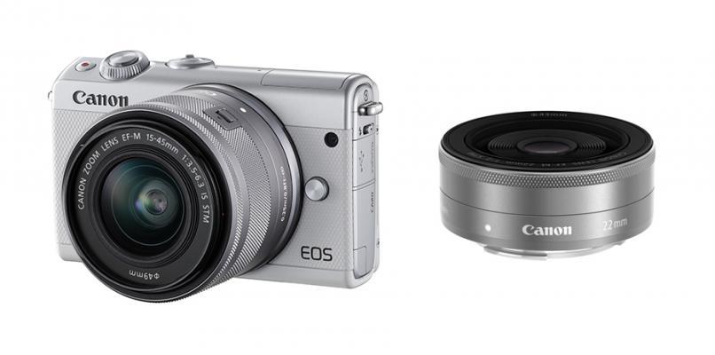 Фотоапарат Canon EOS M100 тяло + Обектив Canon EF-M 15-45mm f/3.5-6.3 IS STM + Обектив Canon EF-M 22mm f/2 STM White