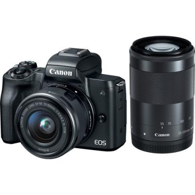 Фотоапарат Canon EOS M50 Black Тяло + Обектив Canon EF-M 15-45mm f/3.5-6.3 IS STM + Обектив Canon EF-M 55-200mm f/4.5-6.3 IS STM