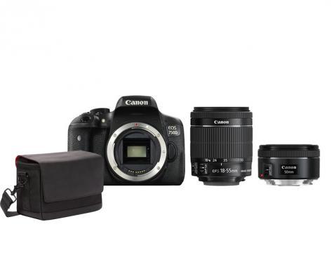 Фотоапарат Canon EOS 750D тяло + Обектив Canon EF-S 18-55mm f3.5-5.6 IS STM + Обектив Canon EF 50mm f/1.8 STM + Фоточанта Canon Shoulder Bag SB100