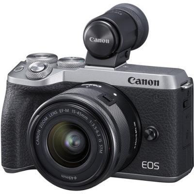 Фотоапарат Canon EOS M6 Mark II тяло Silver+ Обектив Canon EF-M 15-45mm f/3.5-6.3 IS STM + визьор Canon EVF-DC2 + Адаптер Canon EF-EOS M