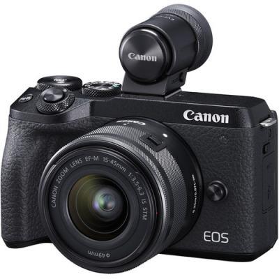Фотоапарат Canon EOS M6 Mark II тяло Black + Обектив Canon EF-M 15-45mm f/3.5-6.3 IS STM + визьор Canon EVF-DC2 + Памет SDXC SanDisk Ultra 64GB UHS-I U1 C10 80MB/s