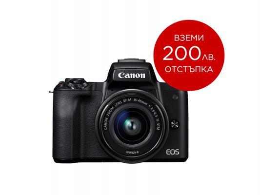 Фотоапарат Canon EOS M50 Black Тяло + Обектив Canon EF-M 15-45mm f/3.5-6.3 IS STM + Памет SDHC SanDisk Extreme 32GB UHS-I V30 (U3) 90MB
