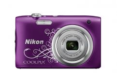 Фотоапарат Nikon Coolpix A100 Purple Lineart + Калъф Case Logic PSL-16 + Памет SDHC Lexar Premium II 300x (45MB/s) 8GB Class 10 (U1)