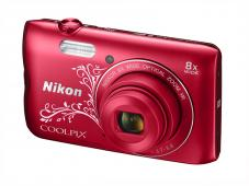 Фотоапарат Nikon Coolpix A300 Red Lineart + Калъф Case Logic PSL-16 + Памет SDHC Lexar Premium II 300x (45MB/s) 8GB Class 10 (U1)