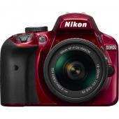 Фотоапарат Nikon D3400 Red тяло + Обектив Nikon AF-P DX Nikkor 18-55mm f/3.5-5.6G VR  + Комплект Nikon DSLR Accessory Kit 3in1 (CF-EU11 Bag + EN-EL14a + 16GB SD)
