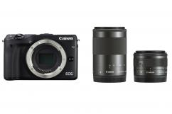 Фотоапарат Canon EOS M3 Black тяло + Обектив Canon EF-M 15-45mm f/3.5-6.3 IS STM + Обектив Canon EF-M 55-200mm f/4.5-6.3 IS STM