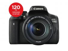Фотоапарат Canon EOS 750D тяло + Обектив Canon EF-S 18-135mm f/3.5-5.6 IS (STM) + Canon EOS Accessory KIT (Чанта, памет 8GB, почистваща кърпичка)