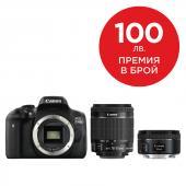 Фотоапарат Canon EOS 750D тяло + Обектив Canon EF-S 18-55mm f3.5-5.6 IS STM + Обектив Canon EF 50mm f/1.8 STM