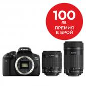 Фотоапарат Canon EOS 750D тяло + Обектив Canon EF-S 18-55mm f3.5-5.6 IS STM + Обектив Canon EF-S 55-250mm f/4-5.6 IS STM