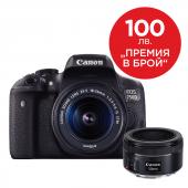Фотоапарат Canon EOS 750D тяло + Обектив Canon EF-S 18-55mm f3.5-5.6 IS STM + Обектив Canon EF 50mm f/1.8 STM + Фоточанта Canon Shouder Bag SB100