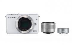 Фотоапарат Canon EOS M10 White тяло + Oбектив Canon EF-M 15-45mm f/3.5-6.3 IS STM + Обектив Canon EF-M 22mm f/2 STM