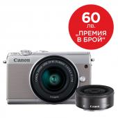 Фотоапарат Canon EOS M100 тяло + Обектив Canon EF-M 15-45mm f/3.5-6.3 IS STM + Обектив Canon EF-M 22mm f/2 STM Сив + Canon Connect Station CS100