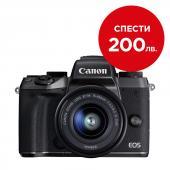 Фотоапарат Canon EOS M5 + Обектив Canon EF-M 15-45 3.5-6.3 IS STM