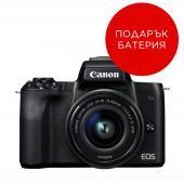 Фотоапарат Canon EOS M50 Black Тяло + Обектив Canon EF-M 15-45mm f/3.5-6.3 IS STM + Батерия Li-Ion Canon LP-E12
