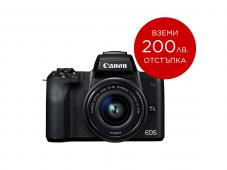 Фотоапарат Canon EOS M50 Black Тяло + Обектив Canon EF-M 15-45mm f/3.5-6.3 IS STM + Гъвкав статив JOBY GorillaPod 1K Kit + Памет SDXC SanDisk Extreme Pro 64GB UHS-I U3 C10 V30 170MB/s + Микрофон Boya BY-MM1