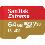 Памет microSDHC SanDisk Extreme 64GB V30 U3 A2 + SD Adapter